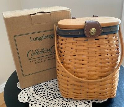 LONGABERGER COLLECTORS CLUB FIVE YEAR ANNIVERSARY BASKET w/ LINER, PROT & TIE-ON