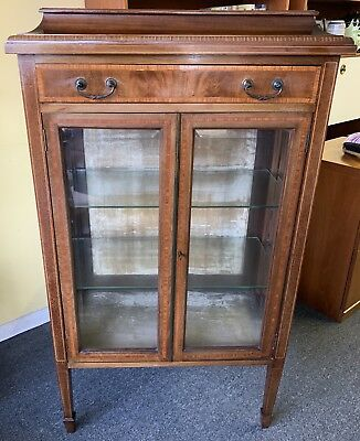 Antique Edwardian Inlaid Glass Display Cabinet