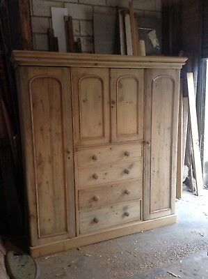 Large 19th Century Stripped Pine Double Wardrobe With Built in Chest Of Drawers