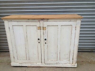 19th century Painted Pine Hall Cupboard