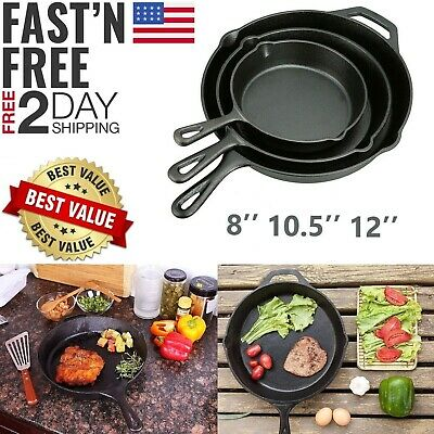 "3 CAST IRON SKILLET Pre Seasoned 6"" 8"" 10"" Inch Stove Oven Fry Pans Cookware Set"