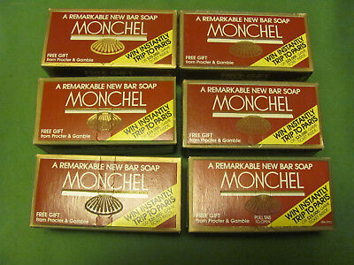 6 Vintage MONCHEL Bar Soaps With Advertising Unopened Box No Reserve/