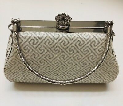 Small Vintage Styled Clutch Bucket Evening Purse with Silver Metal Frame and Bej