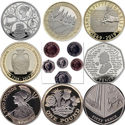 2019 United Kingdom Proof Coins £5 £2 50p D-Day Sherlock Royal Mint Coins
