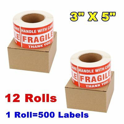 12 Roll 6000 500/Roll 3x5 Large Fragile Stickers Handle With Care Shipping Label