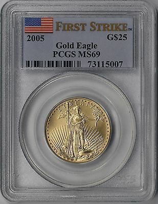 2005 First Strike Gold Eagle $25 Half-Ounce MS 69 PCGS 1/2 oz Fine Gold