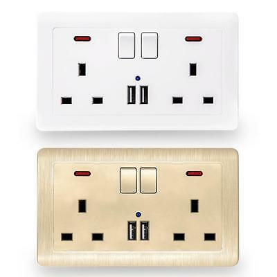 Double Wall UK Plug Socket 13A with 2 USB Charger Port Outlets Plate white, gold