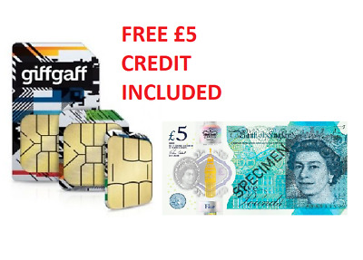 giffgaff SIM card - free £5 topup included - 500MB, 150mins, 500txts