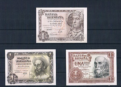 Spain-Banknote  Rare  Lot  3 Pcs  - 1 Pesetas 1948/1951/1953 -  Unc