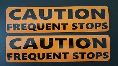 """2 - CAUTION FREQUENT STOPS Magnetic signs 3"""" x 12""""  BLACK on ORANGE"""