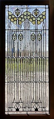 Antique American Stained and Beveled Door Panel in Zinc Came