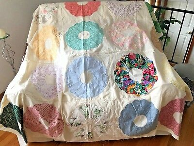 """Handmade Quilt Top Unfinished 60"""" x 70"""" Hand Pieced Wagon Wheel Lovely Colors"""