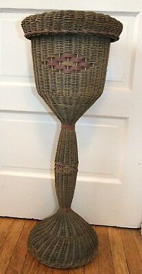 "Vintage 32"" tall WICKER PLANT STAND, 8"" Planter Holder, Woven, Old Green Paint"