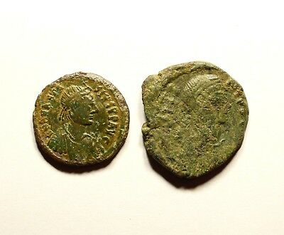Ancient Byzantine Bronze Coin - LOT OF 2 - JUSTIN I & ANASTASIUS