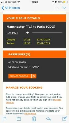 2 Flights To Paris CDG From Manchester 27/02/19 Return 03/03/19 Inc Name Change