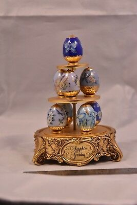 House Of Faberge Sapphire Garden Faberge Eggs & Stand Franklin Mint