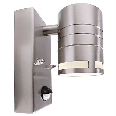 Applique acciaio inox per esterni led gu10 7w sensore di movimento integrato