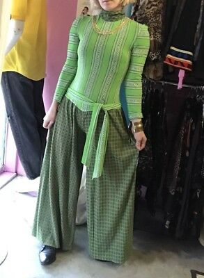 1a07a206b130 Vintage 60s- 70s Polyester Wide Leg Palazzo Disco Jumpsuit Psychedelic  Italian