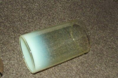 ANTIQUE vaseline glass GLASS CYLINDRICAL HOLLOW TUBE LAMPSHADE. for  lantern