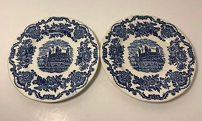 Enoch Wedgwood Royal Homes of Britain Balmoral Castle 6 '' Plates Blue Lot Of 2