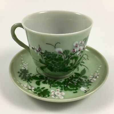 Antique Japanese Meiji Celadon Cup And Saucer Raised Floral Overlay
