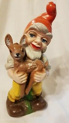 Vintage Zeho West Germany Plastic Gnome Holding Fawn Baby Deer Inset Eyes