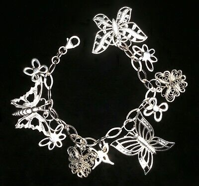 Butterflies!   Vintage Sterling Silver and Silver Plated Charm Bracelet