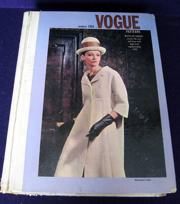 1964 Vtg Vogue Sewing Pattern Store Counter Large Catalog Book January 1960's