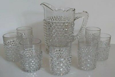 Antique 1890s Hobnail Clear Glass Pitcher & Drinking Glasses Set Vintage Fenton?