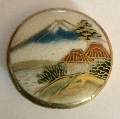 Satsuma Mountains Pagoda Scene Vintage Picture Button Old Gilt Highlights