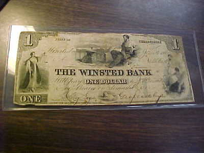 1860 Winsted Bank Connecticut  $1 Obsolete Currency Handsigned Note Nice Grade