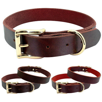 Plain Soft Leather Dog Collar for Small Large Dogs with Heavy Duty Gold Buckle