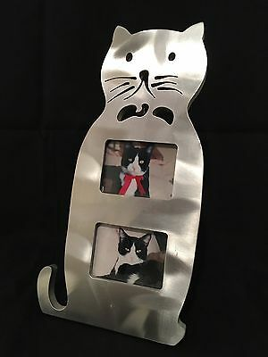 """Metal 9.5"""" Photo Picture Frame Full Body Cat Fits TWO 2.5 x 1.75 photos"""