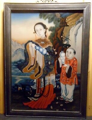 """Chinese Reverse Painting on Glass Mother & Child Highly Detailed 22"""" X !6"""""""