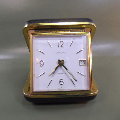 Vintage Art Deco EUROPA Clam Shell travel alarm clock with date.Made in GERMANY