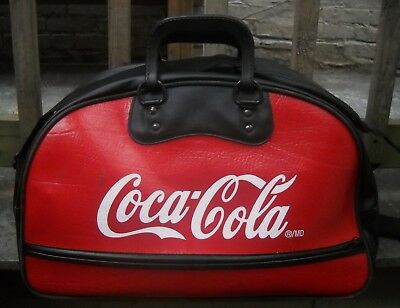 "Coca-Cola 1960's Leatherette Sport Bag Red & Black Canadian Made 18"" x 9"" x 12"""