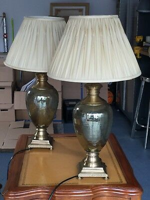 pair of antique table lamps bronz metal, green pearlescent glass, fabric shade