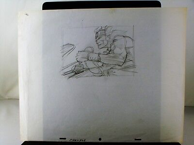 """Bakshi's """"Fire & Ice"""" rough pencil layout drawing of Warrior"""