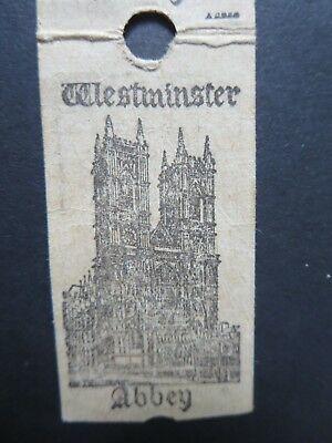 "VINTAGE ""WESTMINSTER ABBEY ROYAL CHAPELS"" TICKET STUBS  ENGLAND 1960's"