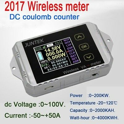 50A wireless DC Coulomb meter volt AMP power Battery Monitor capacity KWh Watt