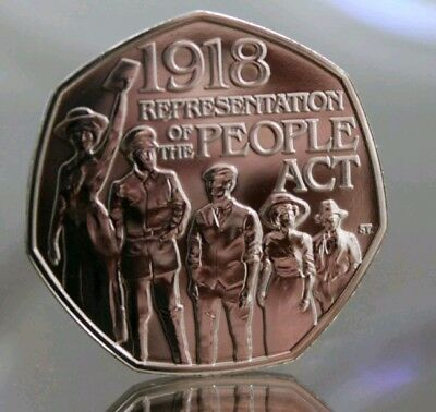 2018 Representation of The People Act 1918 Fifty pence Coin 50p from sealed bag