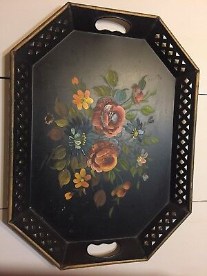 """LARGE  BLACK Large Vtg Toleware Hand Painted Metal Floral Tray 15"""" X 20"""" U.S.A"""