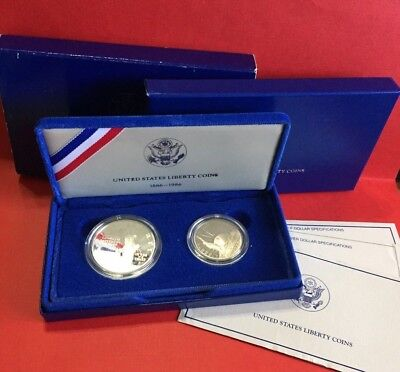 1986-S Proof Liberty Silver Dollar & Clad 50C Two-Coin Set COA OGP