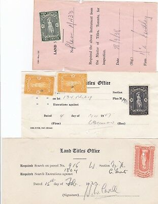 Canada Ontario Five Revenue Stamps on Three Documents 1923