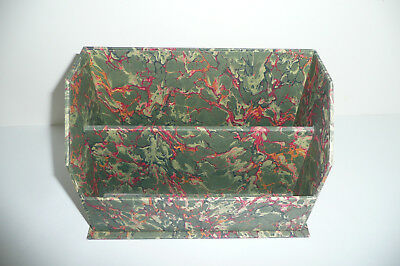 """Vintage Hand Made Fine Marbled Paper Small Letter Desk Caddy Organizer 6""""x8""""x4"""""""