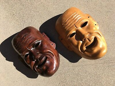 2 Wonderful Japanese Theater wooden [Noh] Masks, mid 20th century, good cond.