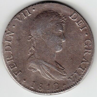M0104 Mexico 1812  8 Reales silver  provinsional war of independence rare all po