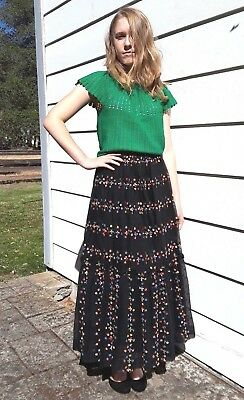 Vintage 1950s TIERED FLORAL SKIRT Colorful Extra Small XS I. Magnin 1960s Black