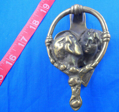 Vintage Brass Lovers Couple Kissing Door Knocker - Never Used - Free Us Shipping