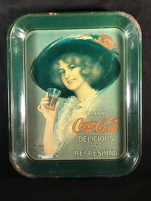 Vintage Green Coca Cola Litho Tin Metal Serving Tray Coke Advertising